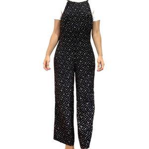 Vintage Black Floral Overall Low Back Jumpsuit